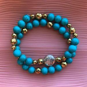 ✨Turquoise Lotus Flower Gemstone 2 Piece Set